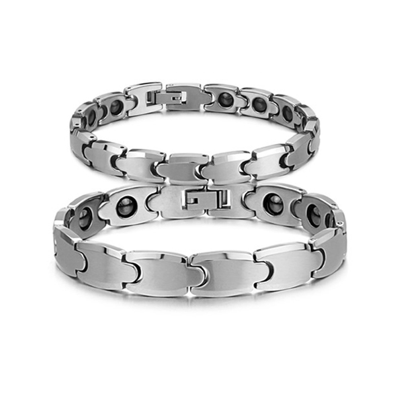 Delicate Charmy New Hot Sale Fashion Health Energy Stone Chain Couple Tungsten Steel Bracelets for Women