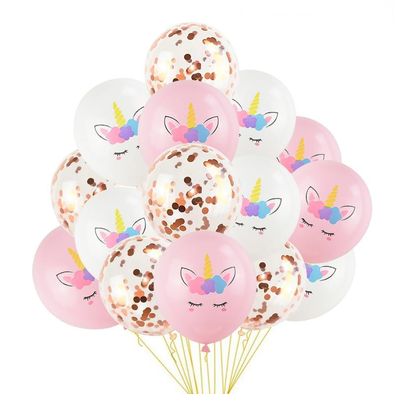 1 Set Unicorn Party Balloons Birthday Baloon Unicorn Decoration Latex Confetti Balloon Birthday Party Decoration Balloons Kids