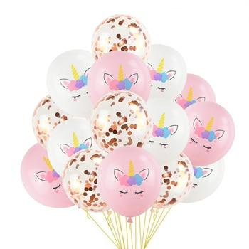 1 Set Unicorn Party Balloons Birthday Baloon Decoration Latex Confetti Balloon Kids