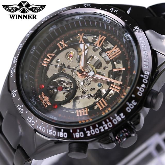 0cfab17053b 2018 Vencedor Relógio de Luxo Homens Relógio Automático Skeleton Militar  Assista Mens Relógio Mecânico Relogio Masculino