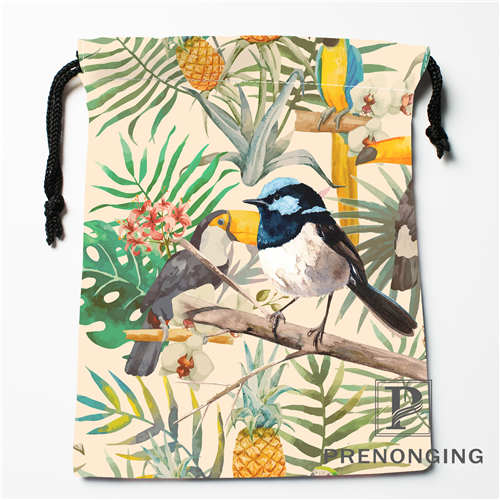 Custom Tropical Rainfores Drawstring Bags Printing Fashion Travel Storage Mini Pouch Swim Hiking Toy Bag Size 18x22cm#171203-6-9