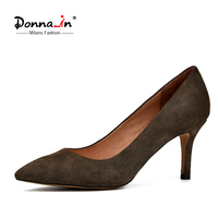 Donna In 2017 Newest Women Pumps Genuine Suede Leather Thin Heel Pointed Toe Spring Heels Shoes