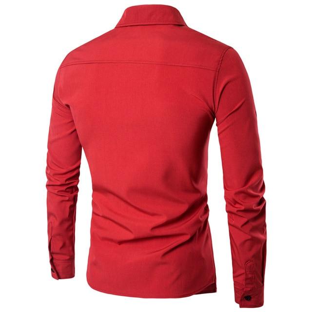 Новый бренд 2018 Для мужчин рубашка поддельные две двери платье рубашка с длинным рукавом Slim Fit Camisa Masculina Повседневное мужской Гавайские рубашки 2X 4