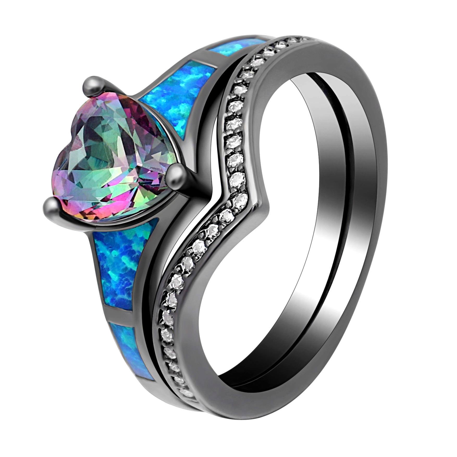 Купить женские кольца с опалом в форме сердца 2 шт винтажные ювелирные