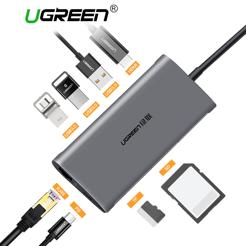 Ugreen USB HUB USB C к HDMI VGA RJ45 PD Thunderbolt 3 адаптер для MacBook samsung Galaxy S9 huawei P20 pro Тип-C USB 3,0 концентратора