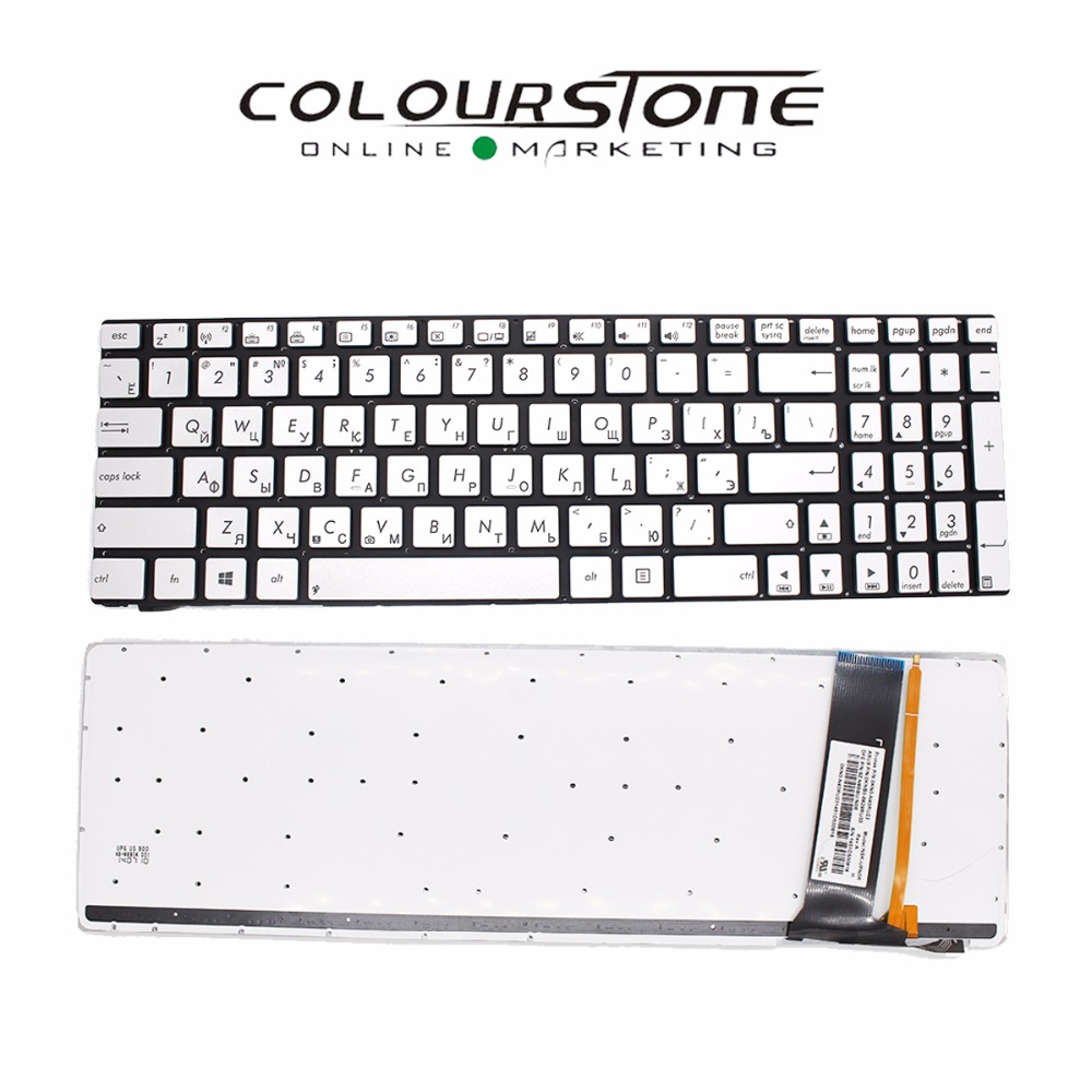 New Russia Silver Laptop keyboard  For ASUS N550 N750 Q550 russia Backlit Laptop keyboard laptop keyboard for acer silver without frame bulgaria bu v 121646ck2 bg aezqs100110