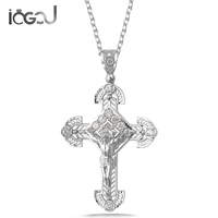 IOGOU 925 Sterling Silver Crystal Cross Pendants Men Women Wedding Anniversary Charm Pendants Party Hip Hop Jewelry Gifts