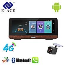 E-ACE E03 di Navigazione GPS Per Auto Tracker 4G Auto DVR Videocamera vista posteriore con L'obiettivo Doppio 8 Pollici Android 5.1 ADAS Video registratore Navigatori