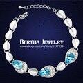 Nuevas adquisiciones de lujo gotas de agua pulsera de cadena Pulseras mujeres Femme con Swarovski Crystal Cristal Bijoux encanto de joyería