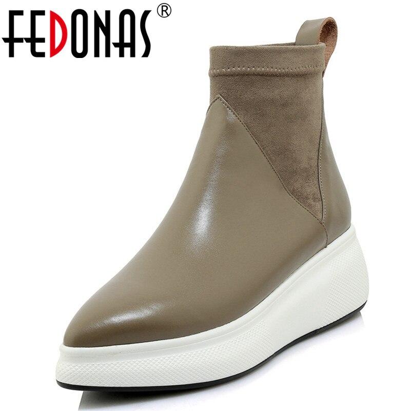 Fedonas novas mulheres retro couro genuíno tornozelo botas plataformas conforto meias casuais botas femininas 2019 sapatos mulher bombas de escritório