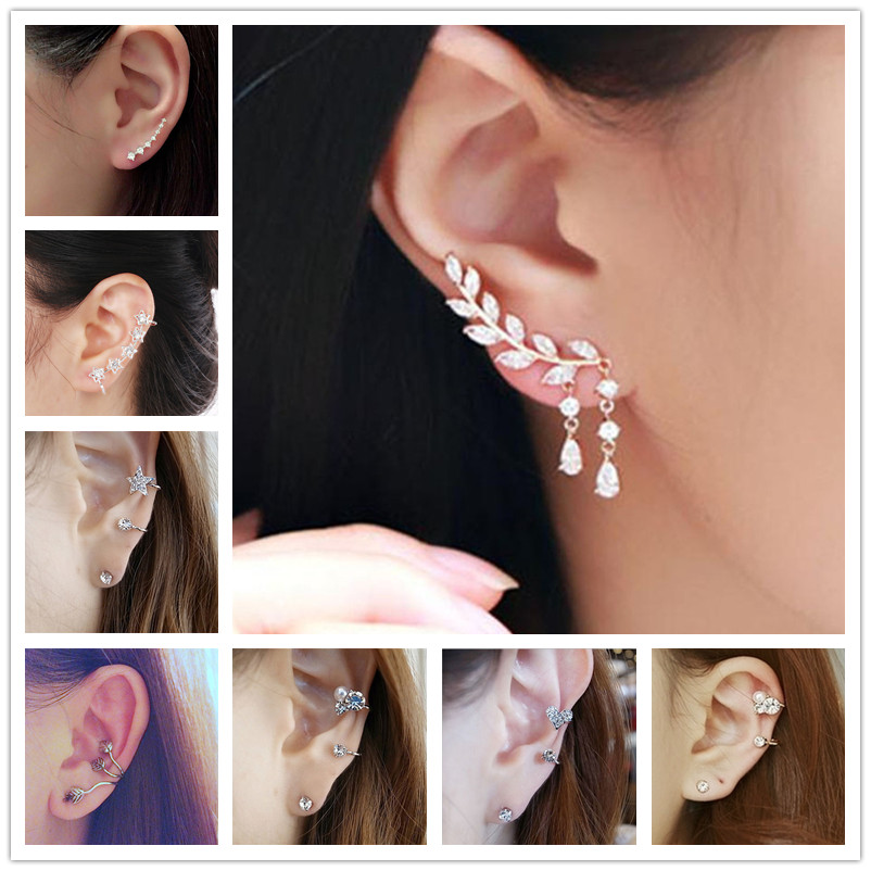 New Brincos Clip Earring Simulated-pearl Crystal Heart Leaf Star Flower Ear Bone Cuff Earrings For Women Men Jewelry Wholesale