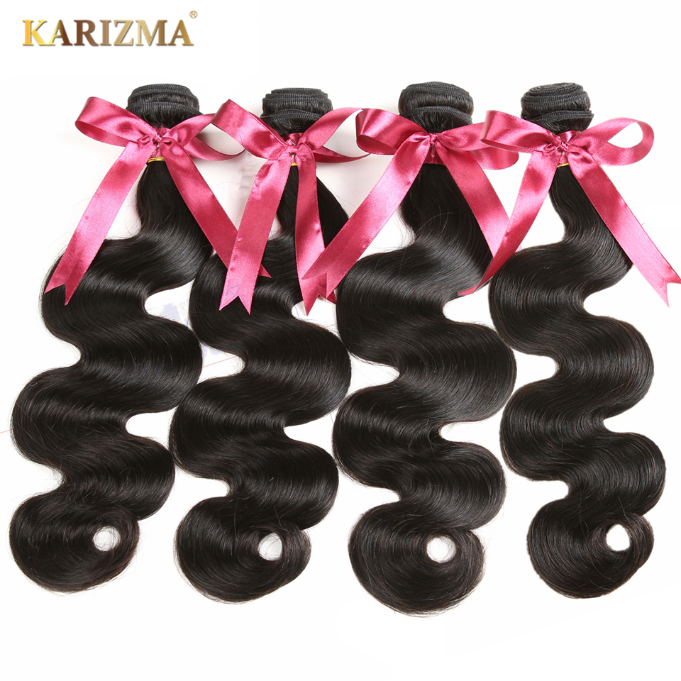 Karizma Brazilian Body Wave 4 Bundles Lot Natural Black Can Be Dyed Non Remy Human Hair