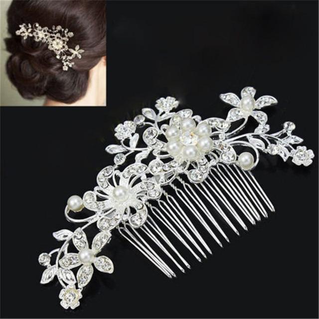 6196b2f6a Wedding Hair Accessories Clips Romantic Crystal Pearl Flower HairPin  Rhinestone Tiara Bridal Crown Hair Pins Bride