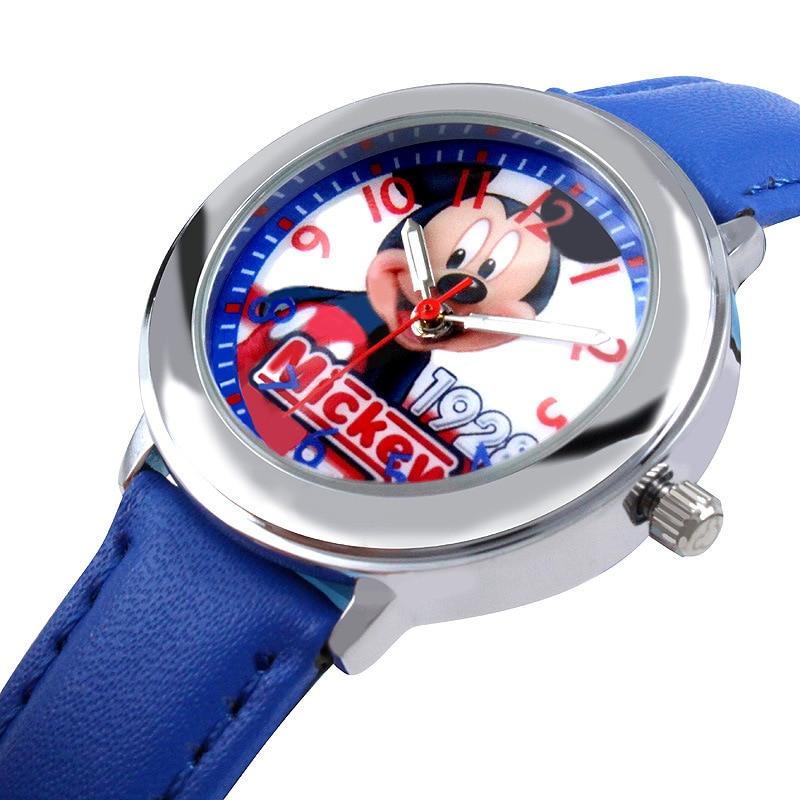 Children's Watches Disney Brand Mickey Mouse Genuine Leather Quartz Watches Children Girls Boys Students Cartoon Waterproof