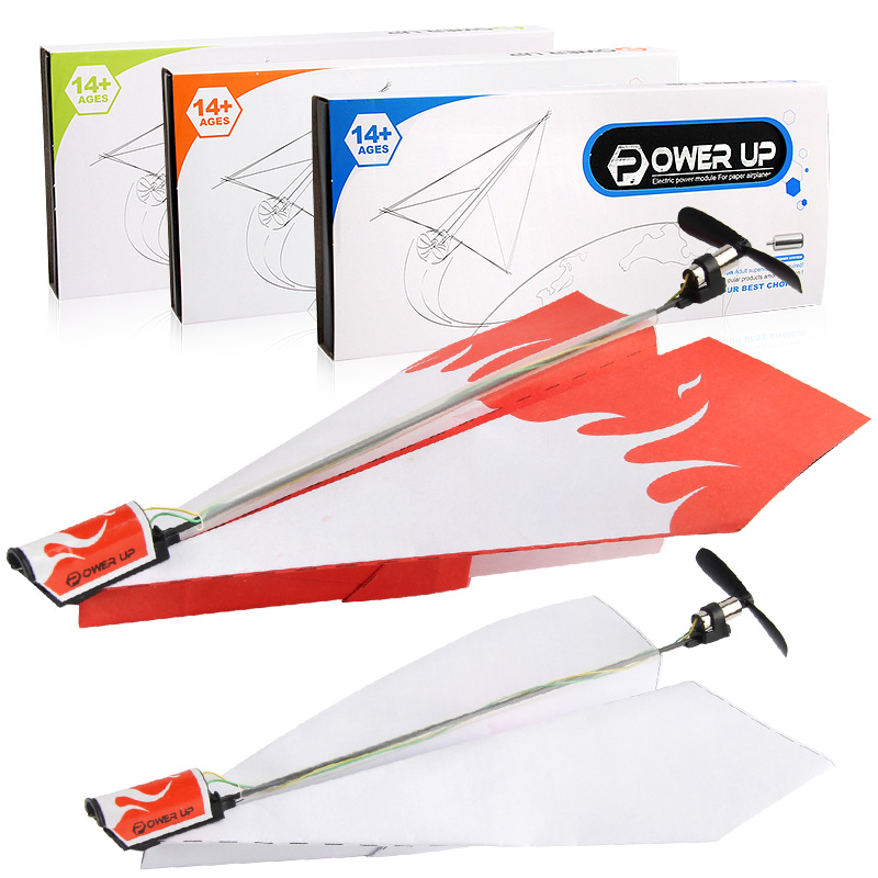 Children's toy motor electric paper airplane model folding DIY paper Power Toys Airplane Rc Folding Motor Power Red Rc Plane image