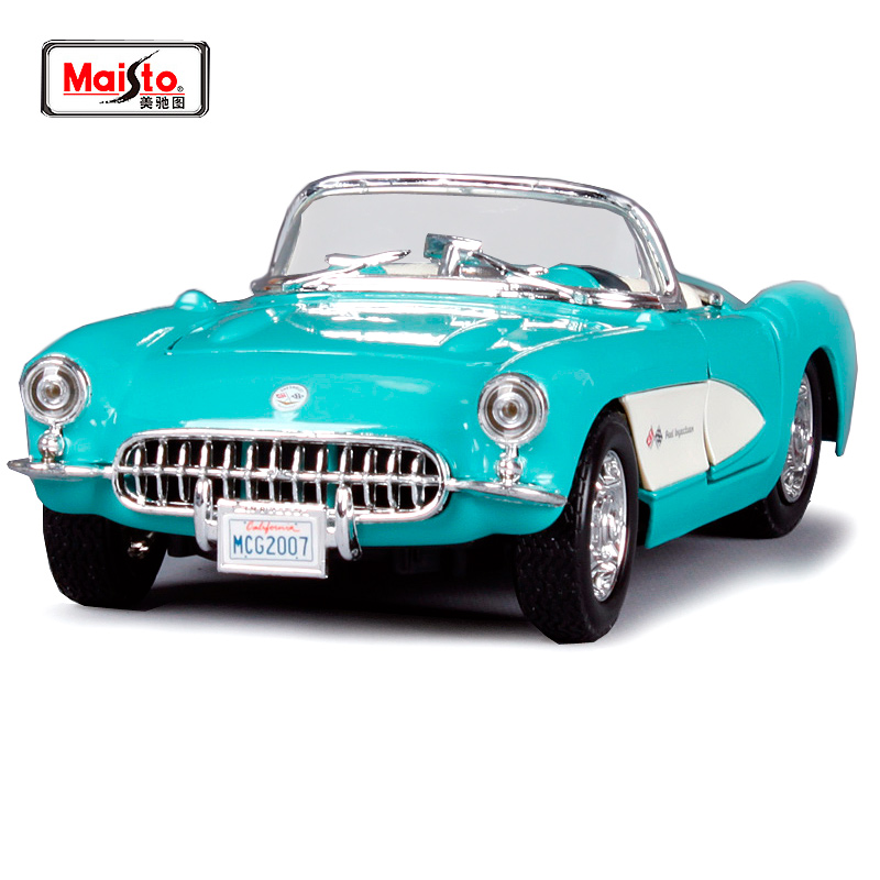 Maisto Black 1957 Chvrolet Corvette 1:24 Scale Alloy Car Model Diecasts & Toy Vehicles High Quality Collection Kids Toys Gift