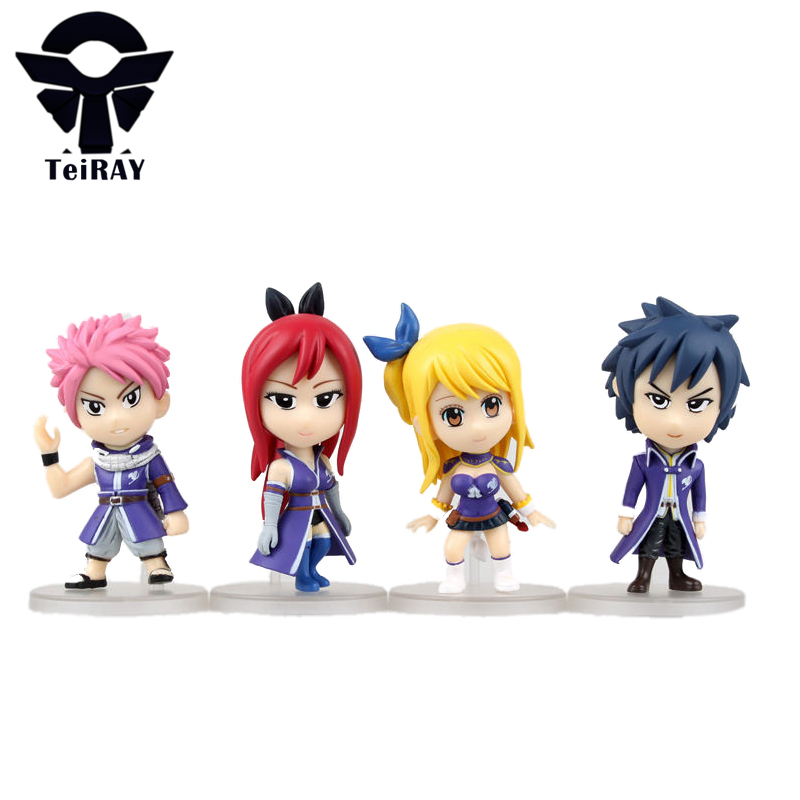 Japan Anime Fairy tail Lucy Natsu Gray Elza mini pvc action figures model cartoon toys doll kids boy box gift 3.2 freeshipping anime cartoon fairy tail gray fullbuster figurines pvc action figures toy model 25cm
