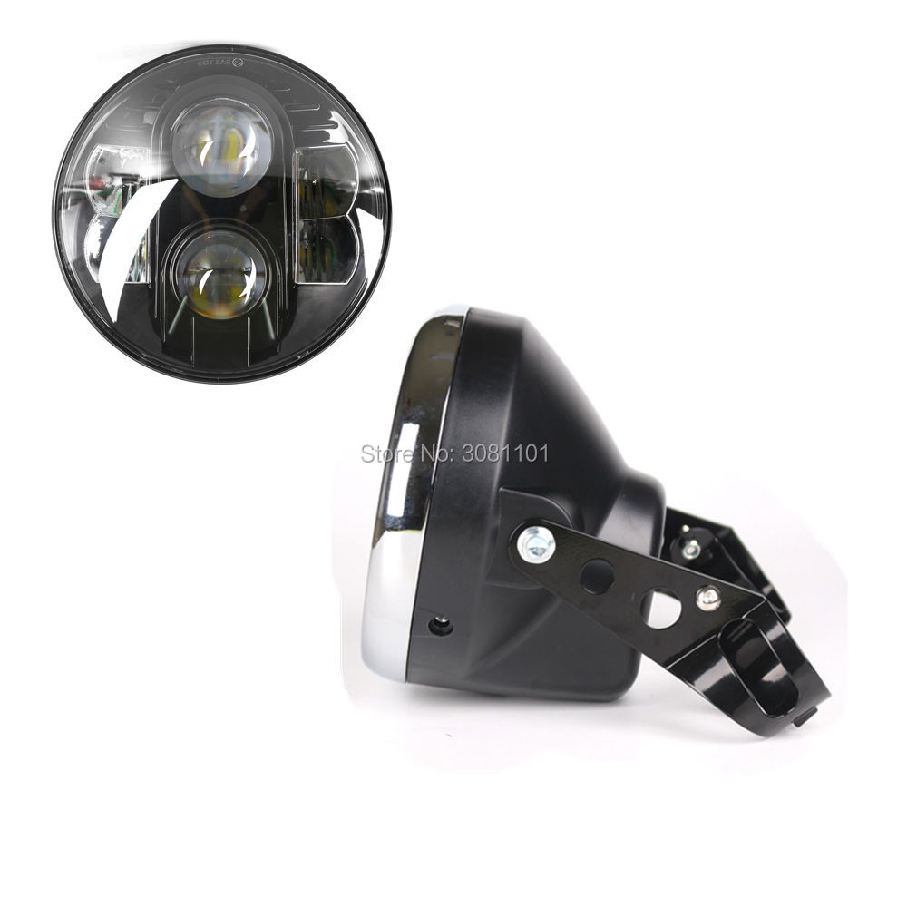 Set 7 Round Hi-Lo Beam Light LED Headlight Projector Daymaker H4 +Housing Shell for 2005-2007 Harley Davidson Softail Deluxe 7inch 75w motorcycle black hi lo beam projector daymaker led chips headlight for harley