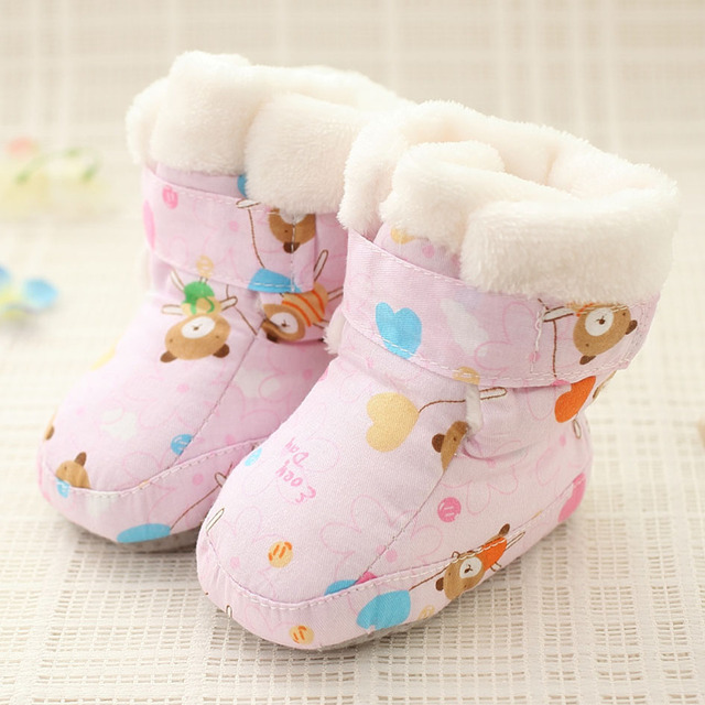 2017 Winter Plush Baby Crib Shoes Infant Winter Warm Shoes Baby Girls First Walkers Warm Winter Baby Boots