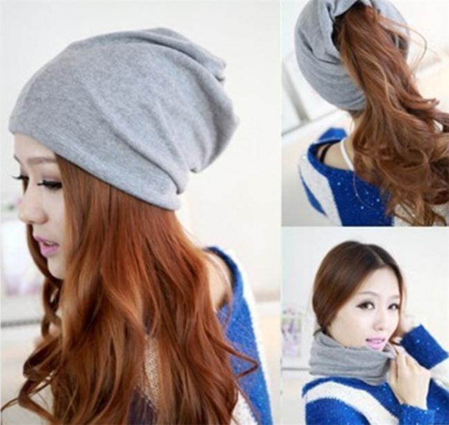 Womens Fashion Casual Design Plain Beanie Hat Cool Snap Backs 4 Colours  Neck Scarf Double Use For Girls Winter Ears Hat-in Skullies   Beanies from  Apparel ... 6bbeacf2bc