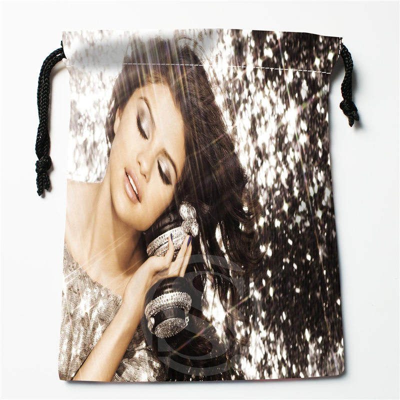 Fl-Q176 New Selena Gomez -#9 Custom Printed  Receive Bag  Bag Compression Type Drawstring Bags Size 18X22cm 711-#Fl176