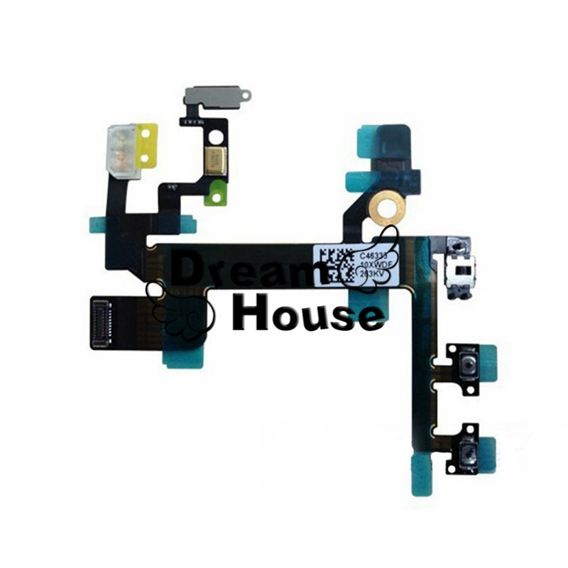 100% New Repair Parts For iPhone 5S Volume Button Key ON Off Mute Silent Switch Connector Flex Cable With Mic Flashlight