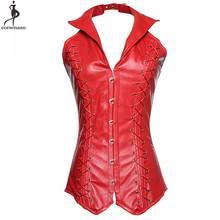 Plus Size 6XL Steel Boned PU Faux Leather Red Black Bustier Corsets Women