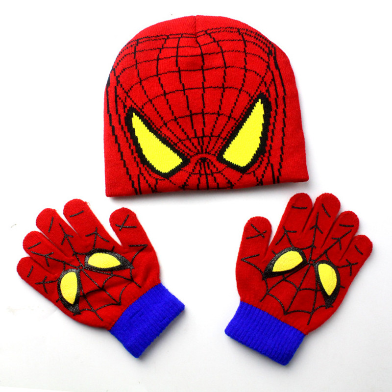 Fashion Warm Children Winter Cotton Spiderman Hat Glove Sets For Baby Kids Spiderman Beanie Knitted Hat