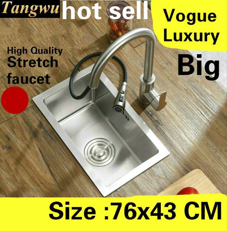 Livraison gratuite appartement grande cuisine manuel évier unique auge haute qualité robinet extensible 304 acier inoxydable vente chaude 76x43 CM