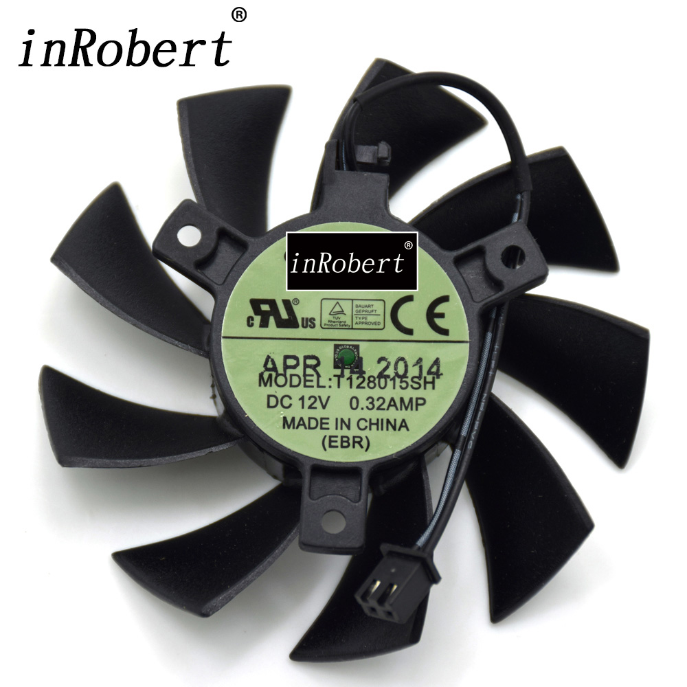 New Everflow T128015SH 75MM 2P 2Pin DC 12V 0.32AMP Cooling Fan For EVGA GTX 650 650Ti GTS 450 Graphics Card Cooler Fans