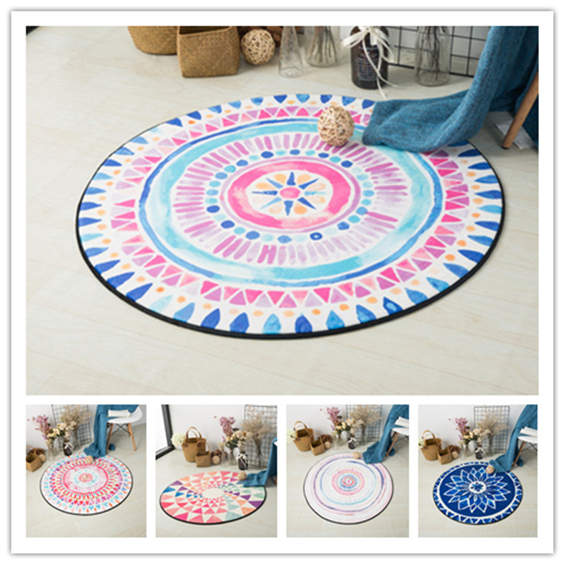 Nordic Style Colorful Geometric Printed Carpet Rugs Non-Slip Home Decor Round Bedroom Ma ...