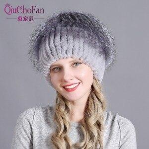 Image 1 - Womens Fur Hat Russian Knit Cap Hat Female Winter Rabbit And Fox Hat Real Fur Hat Caps Winter Women Ski Cap Protection Ear