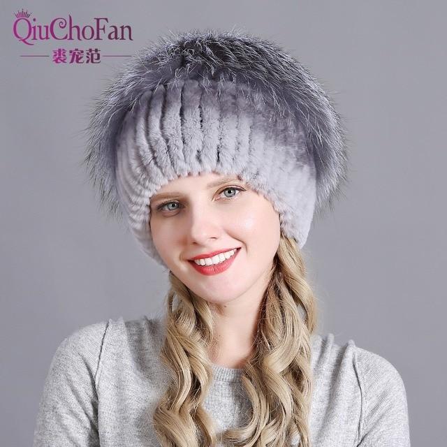 Womens Fur Hat Russian Knit Cap Hat Female Winter Rabbit And Fox Hat Real Fur Hat Caps Winter Women Ski Cap Protection Ear