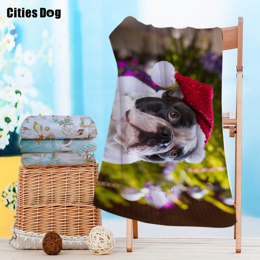 Serviette de plage carlin de noël Bullmastiff Animal microfibre voyage en plein air Sports natation Camping bain Yoga tapis couverture