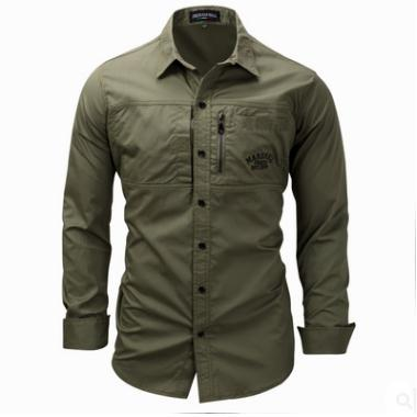New European Size Mens Large Size Casual Long Sleeves Lapel Shirts Cotton Military Blouses Camisa Masculina Male Shirts J2391