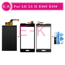 Original 4.0″ For LG L5 II E460 E450 Touch Screen Digitizer Sensor Glass + Lcd display Black White + Tools Free shipping