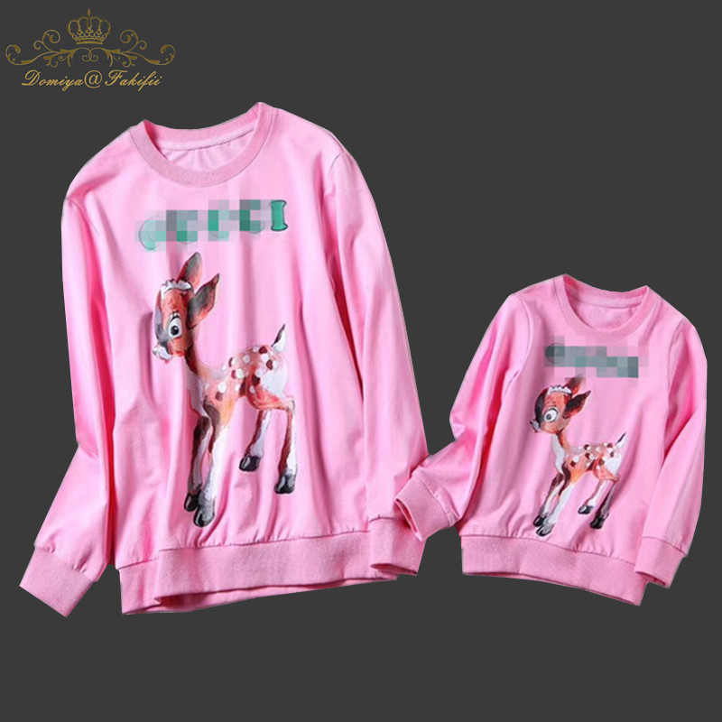 2018 Brand Spring&Winter Style Family Matching Outfits Mother And Daughter Long Sleeve Deer Pattern Pink Sweatshirt Boy hoodies long sleeve pattern sweatshirt