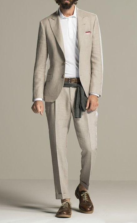 Latest Coat Pant Designs Beige Linen Beach Men Suit Slim Fit 2 Piece Casual Tuxedo Custom Blazer Groom Suits Terno Masculino