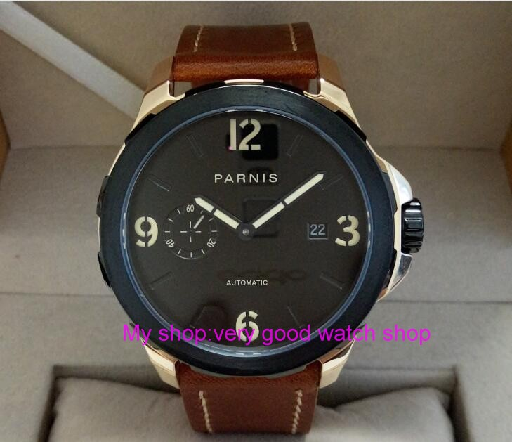 Sapphire crystal PARNIS 44mm black dial ST25 automatic Self Wind movement men s font b watch