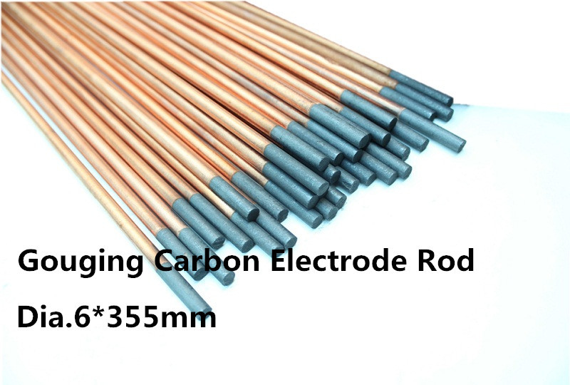 dia.6 *355mm Carbon welding electrode copper plating 100pcs/free shipping dia 5 355mm dc copper coated pointed gouging rods 100pcs