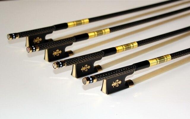Frete Grátis 1 pc New PRO 4/4 3/4 1/2 1/4 szie fibra De Carbono Ebony Sapo arco de violino com grades Escultura flor