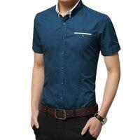 Dudalina 2017 Camisa Masculina Shorts Sleeve Casual Cotton Shirts Bordado Imported China Clothing M 5XL Slim Fit homens
