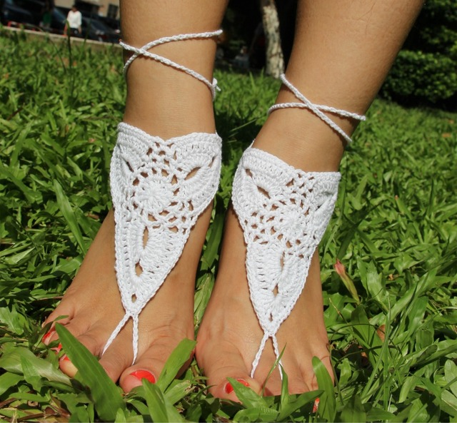 Summer Crochet Barefoot Sandals Women Hollow Nude shoes Foot Jewelry