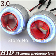 "3"" inch  35w HID Bi-xenon  Projector Lens 2.5mm CCFL Angel Eye+ Devil Eye hid xenon bulb 4300k 5000k 6000k 8000k for headlight"
