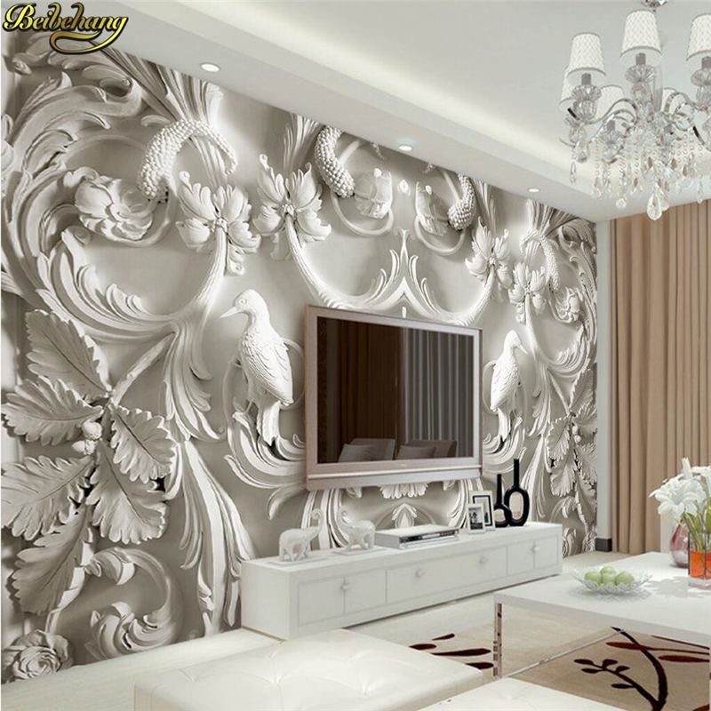 Beibehang Custom Photo Wallpaper Large Mural Wall Stickers Classic White European Relief 3d TV Wall Murals Papel De Parede