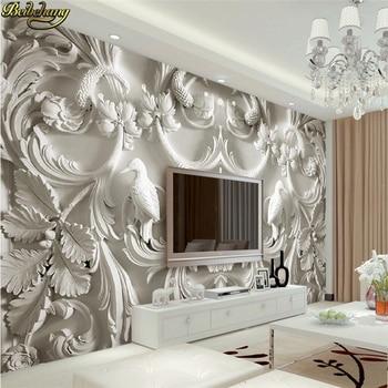 beibehang Custom photo wallpaper large mural wall stickers classic white European relief 3d TV wall murals papel de parede