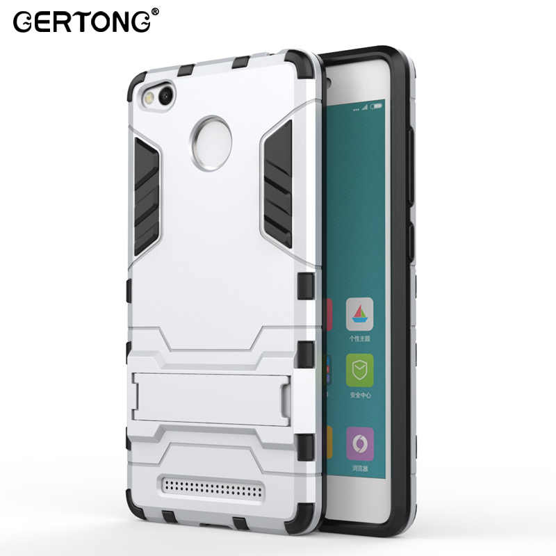 GerTong Case for Xiaomi Redmi 3S Stand Holder TPU&PC Plastic Hard Silicone 2 in 1 Dual Armor Back Cover for Xiaomi Redmi 3 S Pro