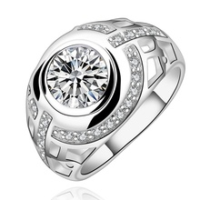 Silver plated rings crystal Rings Simple CZ stone wedding zircon simple ring women lady cute fashion sweet ring R575