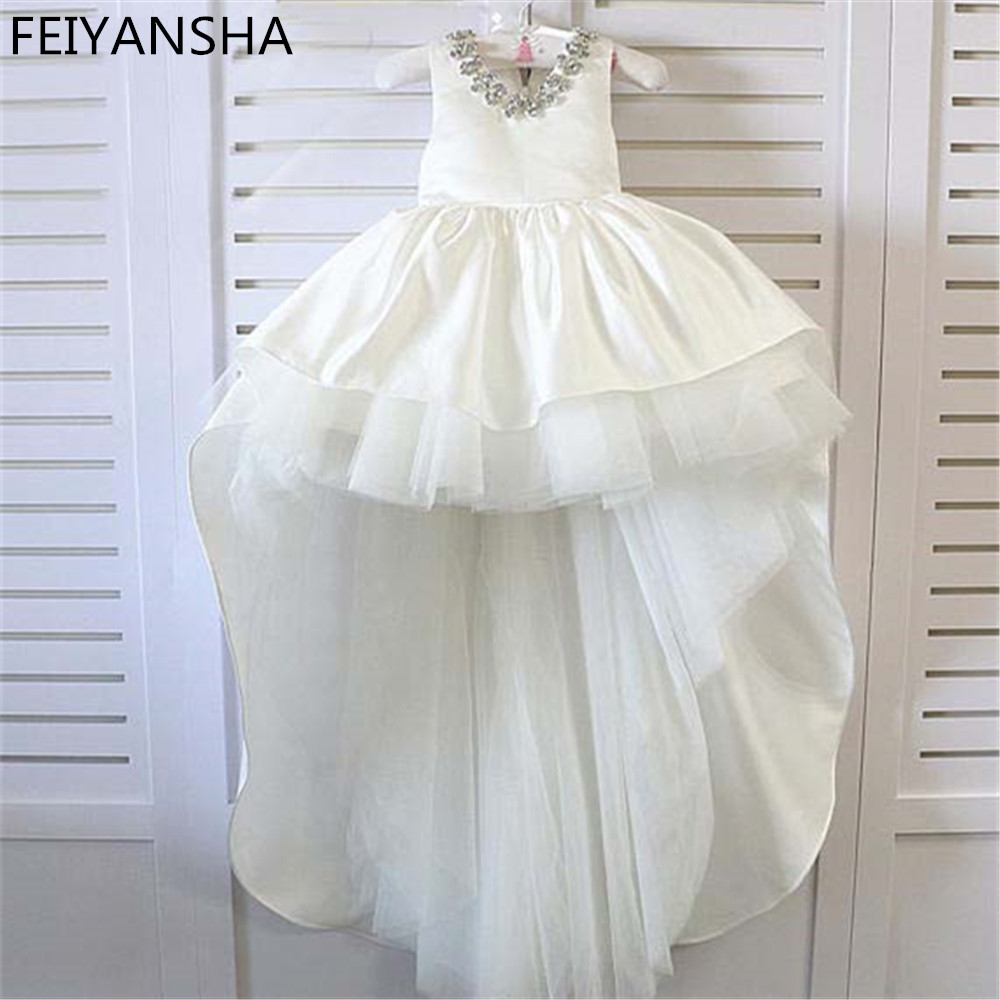 White Ivory Flower Girl Dress Kids Pageant Birthday Formal Party Lace Long Dress Bowknot First Communion Dress Prom Gown 3M-14Y