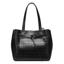 QIANGSHILI Brand Casual Fashion Genuine Cowskin Leather Saffiano Stone Pattern Luxury Handbags Women Bags Designer High Quality